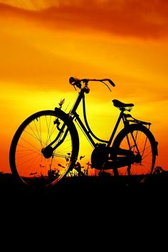 Silhouette - Sunset bicycle - title  My bicycle
