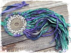 Hyacinth DREAM CATCHERGreens & Purples Silk by MoonDogStudios