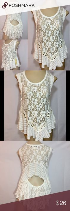 NWT Vintage Havana Top New With Tags Vintage Havana Top. White lace and Ruffle design, cut out back, very feminine and cute! Tops