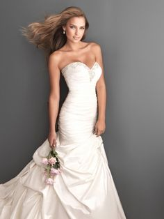 Trumpet/Mermaid Sweetheart Taffeta Sweep Train Pick-Ups Ivory Wedding Dresses at Millybridal.com