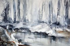 "Winter Communication  watercolor, 11"" x 15"" (28cm x 38cm)  Anders Andersson    After Snowfall  watercolor, 22"" x 15"" (56cm x 38cm)  Aud Rye..."