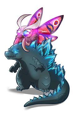 Godzilla and Mothra cute All Godzilla Monsters, Godzilla Comics, Sea Monsters, Godzilla Godzilla, Godzilla Tattoo, King Kong Vs Godzilla, Character Art, Character Design, Godzilla Wallpaper