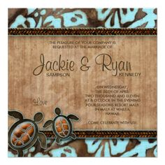 Shop 232 Luau Party Invitation Turtle Blue Brown created by Personalize it with photos & text or purchase as is! Luau Party Invitations, Beach Theme Wedding Invitations, Save The Date Invitations, Save The Date Cards, Invites, Invitations Online, Floral Wedding Save The Dates, Wedding With Kids, Wedding Ideas