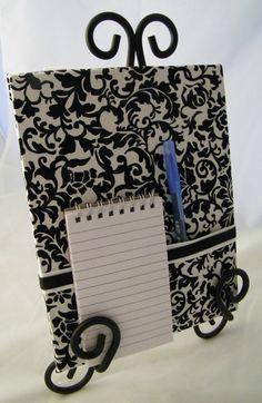 kitchen note pad holder, school locker organizer, coupon organizer, black and white home decor, magnet board