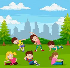 Cute children boys and girls in top yoga asanas poses cartoon icons collection set Kids Gym, Yoga For Kids, Exercise For Kids, Art For Kids, Kids Cartoon Characters, Cartoon Kids, Cartoon Images, Cartoon Icons, Kindergarten Portfolio