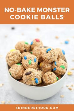 Easy No Bake Cookie Balls Snacks Recipe (Kid Friendly) | Easy Healthy Recipes & Meals for Families - These easy, healthy cookies balls are the best snacks or desserts for the entire family - including your picky eaters kids! This recipe has oatmeal, honey, peanut butter & only 3 other ingredients! Click through to learn how to make these delicious cookie energy balls! 5 Dinners 1 Hour #healthydessert #easydessert #easysnacks #healthysnacks #energyballs #nobakedesserts #nobakesnacks No Bake Snacks, Easy Snacks, Easy Healthy Recipes, Easy Desserts, Delicious Recipes, Snack Recipes, Cooking Recipes, Yummy Food, No Bake Cookie Balls Recipe