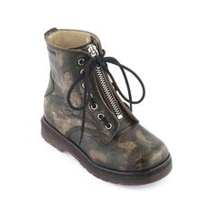 Pom d'Api - Brown camouflage leather high top shoes - 50153