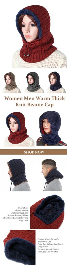 Women Men Warm Thick Knit Beanie Cap With Earmuffs Hooded Scarf Windproof Hooded Neck Warmer Cap
