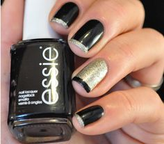 Black and Gold French Manicure