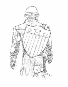 Marvel Drawing Captain America Sketch by ewrong - Visit to grab an amazing super hero shirt now on sale! Avengers Drawings, Drawing Superheroes, Avengers Art, Drawing Cartoon Characters, Comic Drawing, Cartoon Drawings, Drawing Sketches, Superhero Sketches, Sketching