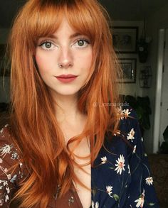 Gorgeous Ginger Copper Hair Colors And Hairstyles You Should Have In Winter; Red Hair Color And Style; Giner And Red Hair Color; Ginger Hair Color, Red Hair Color, Ginger Hair Dyed, Color Red, Long Face Hairstyles, Pretty Hairstyles, Natural Hairstyles, Long Hair Cuts, Long Hair Styles