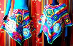 Crochet Poncho / Skirt - Rainbow Granny Stripes With Go Crochet Motifs And Doilies