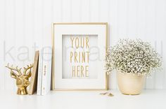 Gold Frame w/ Deer Bust Figurine, Gold Books, & Baby's Breath / Styled Stock Photography / Product Background / High Res File #409