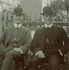 Bowler or Derby Hat: Felt round hat with short brim. Created for the Earl of Leicester, became a staple English men
