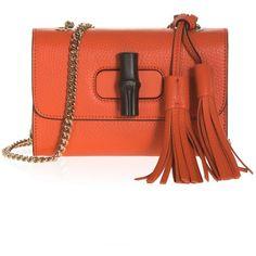 Gucci Mini Bamboo Chain Strap Shoulder Bag ($1,212) ❤ liked on Polyvore featuring bags, handbags, shoulder bags, crossbody shoulder bags, gucci purses, gucci crossbody, mini crossbody purse and mini crossbody handbags