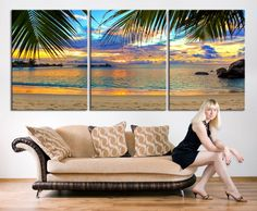 Extra large wall art - Palm and Beach Canvas Print, 3 Panel Large Wall Art Canvas Print, Tropical Beach, Tropical Island Wall Art Canvas