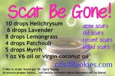 scar be gone recipe infographic. http://younglivingoilobsessed.wordpress.com/ https://www.facebook.com/YoungLivingOilObsessed?ref=hl