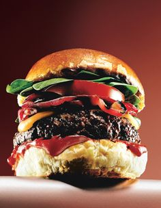 #Cheddar #Burgers With Balsamic Onions And Chipotle Ketchup