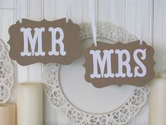 MR and MRS Wedding Signs for Wedding Photos by ParamoreArtWorks, $12.00