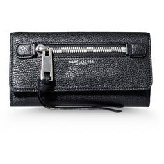 Marc Jacobs Wallets ($520) ❤ liked on Polyvore featuring bags, wallets, purses, accessories, black, real leather bags, genuine leather bag, leather snap wallet, black wallet and black bag