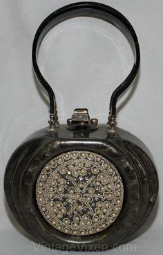 Vintage - Sac à Main 'Aumonière' - Lucite, Perles et Pierres Imitation - Llewellin