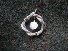 Viking knitted pendant with glass-bead