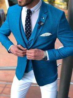 Available Size : Suit material : Cotton , Linen Machine washable : No Fitting : slim-fit Cutting : double slits, cover pocket, double button Remarks : Dry Cleaner Terno Slim Fit, Slim Fit Suits, Mens Fashion Suits, Mens Suits, Groomsmen Suits, Groom Attire, Marriage Suits, Turquoise Suit, Blue Suit Men