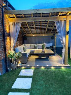 Garden Bar Shed, Garden Fire Pit, Outdoor Rooms, Outdoor Gardens, Outdoor Living, Outdoor Decor, Back Garden Design, Patio Design, Garden Furniture