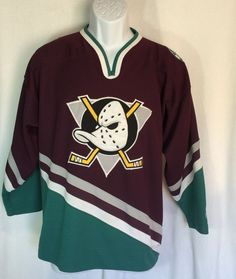 Mighty Ducks NHL Hockey Jersey Starter L/XL Anaheim Embroidered Patches #Starter…