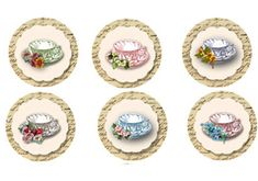 Vintage Tea Party Tea Cup Toppers Instant download by sssstudio, ETSY - great shop for digital TEA ITEMS! ! !