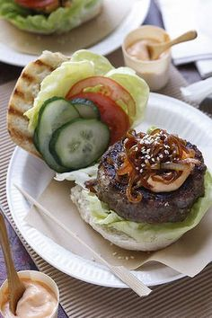 Korean beef burger with chilli mayonnaise.