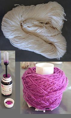 Sometimes you can't find the colour you want. So we took a plain skein, added dye and got this beautiful purple as a result.