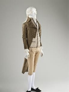 Man's tailcoat, 1790-1795. Silk and cotton plain weave and silk satin stripes. Image Library   LACMA