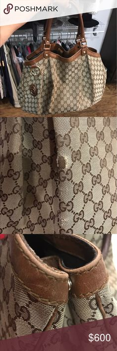 Large Gucci Sukey bag!Caramel color leather trim. This is the large size. This bag def had wear but still can  live on! 100% authentic. Gucci Bags