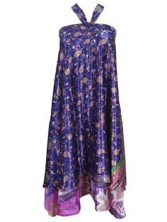 Boho Wrapskirt Vintage Silk Sari Two Layer Long Beach Wear Hippie Wrap Dress