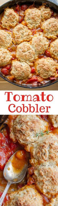Tomato Cobbler ~ Juicy ripe summer tomatoes topped with a herb infused biscuit crust as perfect as the name implies - tomato cobbler is one of the best tomato dishes ever!  Fresh homegrown tomatoes, vibrant savory thyme, a little heat from cayenne and just a touch of tangy-ness from the whole-grain mustard.  A delightful meatless Monday meal!  http://www.savingdessert.com