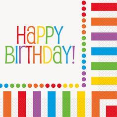 16 Colour Rainbow Party Happy Birthday Servietten 33cm