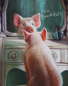 Stupell Industries 'I'm Beautiful' Painted Pig Illustration Wall Art Animals And Pets, Baby Animals, Funny Animals, Cute Animals, Stretched Canvas Prints, Canvas Art Prints, Pig Illustration, Pig Art, Mini Pigs