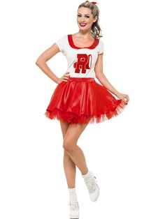 Buy Adult Grease Sandy Cheerleader Costume, available for Next Day Delivery. Our Adult Ladies Grease Sandy Cheerleader Costume comes complete with Red and White Top with 'R' and Megaphone Logo and Red SkirtOutfit includes:TopSkirt with attached Petti . Fancy Dress Ball, Ladies Fancy Dress, Pink Ladies, Grease Sandy, Cheerleader Fancy Dress, Cheerleader Halloween, Red Skirt Outfits, Grease Costumes, Costumes