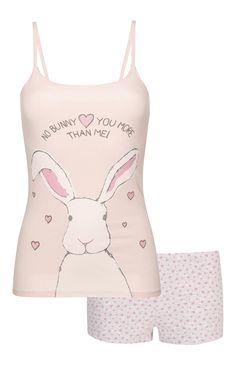 Pijama calções top de alças coelho rosa