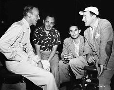 Four dance experts on the set of Royal Wedding- Fred Astaire, choreographer Nick Castle, director Stanley Donen and visitor Gene Kelly Brother And Sister Songs, Classic Hollywood, Old Hollywood, Beverly Hills, Pittsburgh, Stanley Donen, Jane Powell, The Long Goodbye, Fred And Ginger