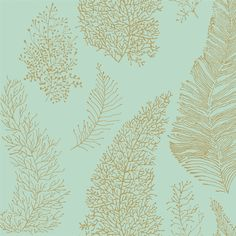 In a beautiful seafoam color, this charming wallpaper would add elegance to any beachside home. Pattern Allover Coral Spot from the book By The Sea AmericanBlinds.com