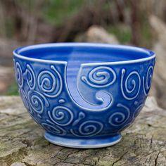 Blue Swirl Yarn Bowl by Bunny Safari by BunnySafariPottery on Etsy, $40.00