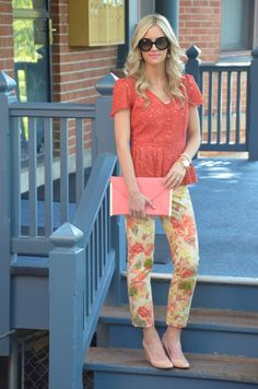 10.12 warm floral (Anthropologie lace top + Anthropologie floral pants + J Crew wedges + ASOS clutch + Prada sunnies) <<Little Miss Fearless