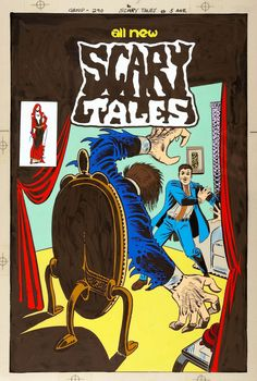 Original hand-colored production art, painted on acetate over Steve Ditko's original drawing, for Scary Tales #5, published by Charlton Comics, April 1976. #ditko