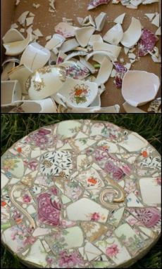 Character to Your Garden by Turning Broken China into Gorgeous Stepping Ston., Add Character to Your Garden by Turning Broken China into Gorgeous Stepping Ston., Add Character to Your Garden by Turning Broken China into Gorgeous Stepping Ston. Mosaic Crafts, Mosaic Projects, Mosaic Art, Mosaic Glass, Garden Projects, Diy Projects, Mosaic Ideas, Furniture Projects, Mosaic Furniture