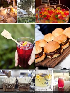 food and such for the wedding. Love the sliders idea, but replace with pork like pork sandwiches or veggie burgers for random people.