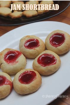 Jam Shortbread Cookies - Eggless Shortbread Thumbprint Cookies Recipe - Yummy Tummy