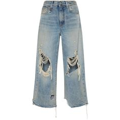 R13     Camille Leyton Cropped Jeans ($450) ❤ liked on Polyvore featuring jeans, pants, bottoms, light wash, destruction jeans, distressing jeans, light wash jeans, distressed jeans and destroyed jeans