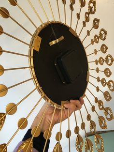 large living room with modern art wall clock, silent Non-ticking,high quality quartz battery operated movement. Perfect for House warming gift,holiday gift etc made from rhinestones decorated makes even shine. Modern Clock, Modern Wall Art, Large Metal Wall Clock, Dollar Store Mirror, Underground Bunker, Wall Clock Design, Curtain Ties, Gifts For Office, Glass Design